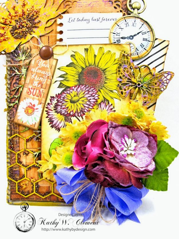 Summer Sunflowers Mixed Media Tag Cheerful by Kathy Clement Product by Authentique Photo 4