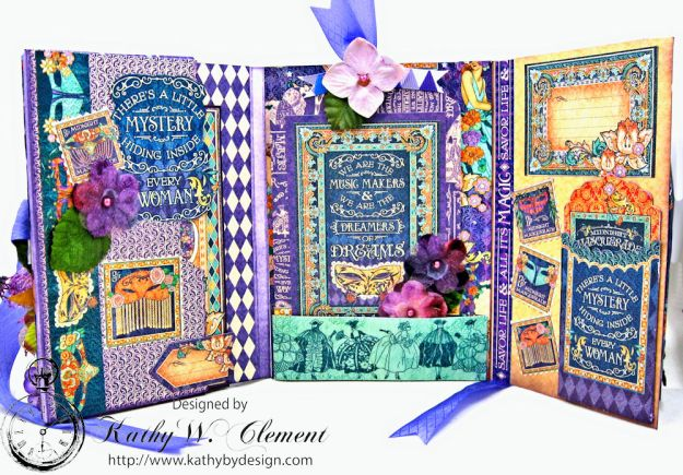 Midnight Masquerade Tri Fold Folio by Kathy Clement for RRR Product by Graphic 45 Photo 6