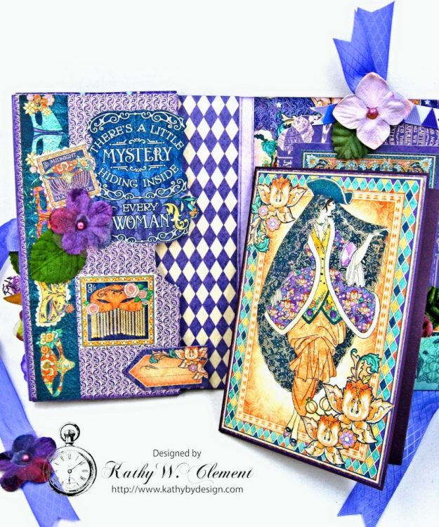 Midnight Masquerade Tri Fold Folio by Kathy Clement for RRR Product by Graphic 45 Photo 8