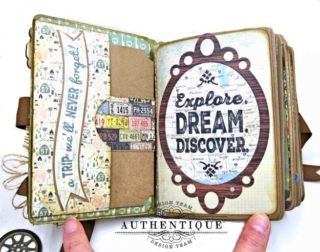 Authentique Pastime Passport Style Mini Album by Kathy Clement Photo 4