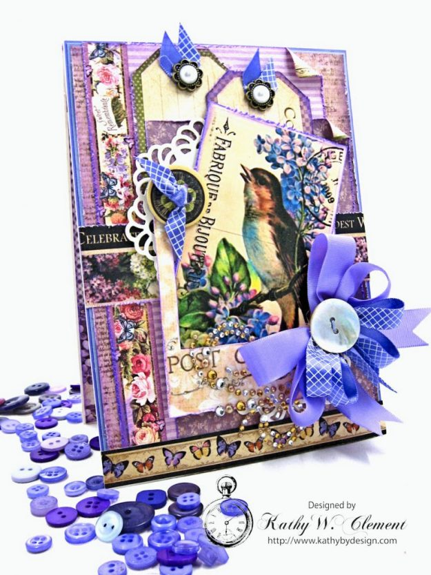 Purple Songbird All Occasion Greeting Card by Kathy Clement for Really Reasonable Ribbon Photo 1