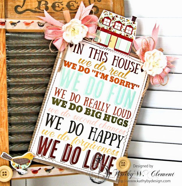Family Rules Altered Washboard Vintage Blessings by Kathy Clement for Really Reasonable Ribbon Product by Simple Stories Photo 1