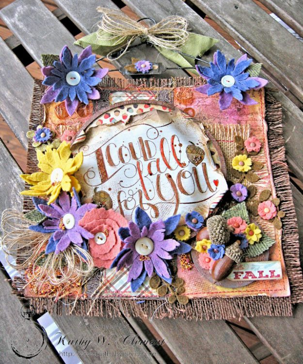 Rustic Autumn Banner with Felt Flowers by Kathy Clement for Tammy Tutterow Designs Photo 5
