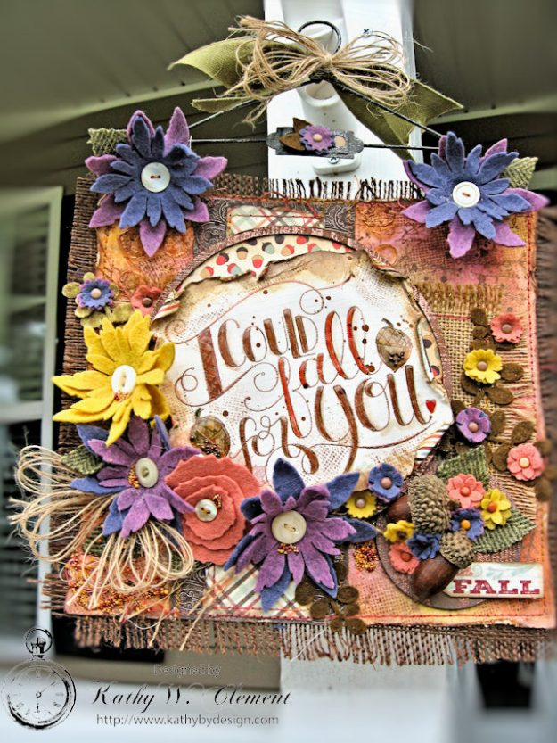 Rustic Autumn Banner with Felt Flowers by Kathy Clement for Tammy Tutterow Designs Photo 4