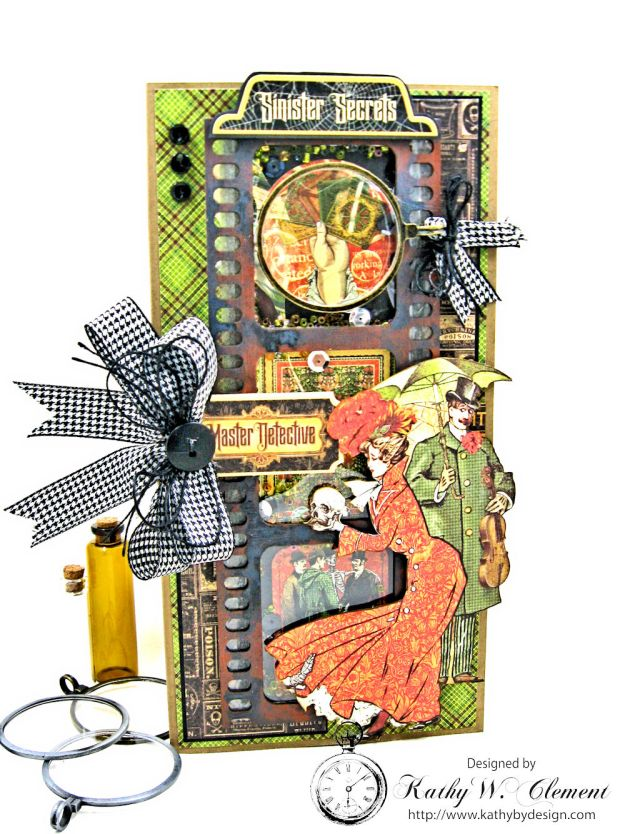 Sinister Secrets Master Detective Shaker Card Tutorial by Kathy Clement for Really Reasonable Ribbon Photo 1