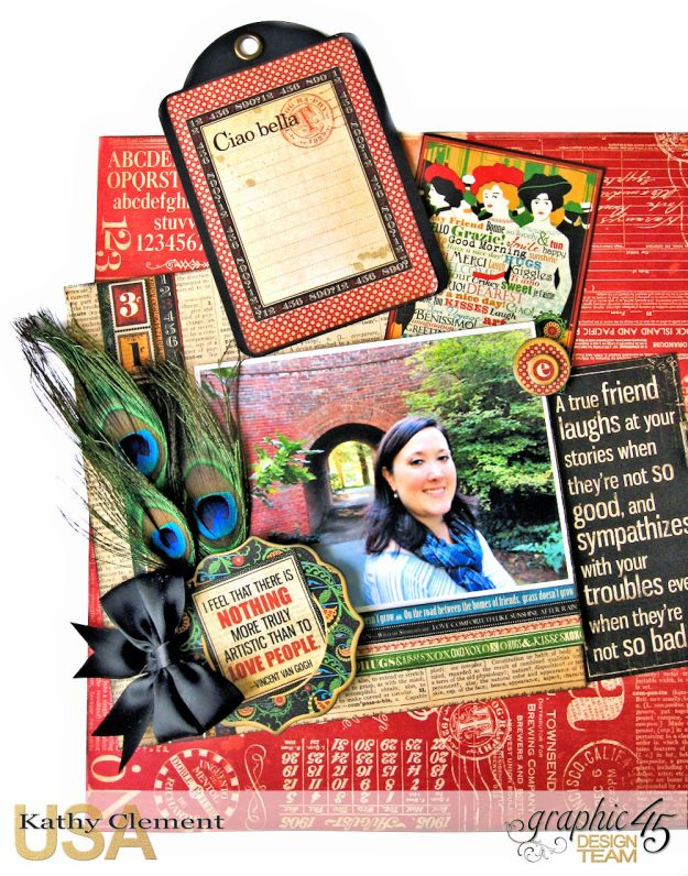 Ciao Bella Layout Tutorial Typography by Kathy Clement Product by Graphic 45 Photo 4