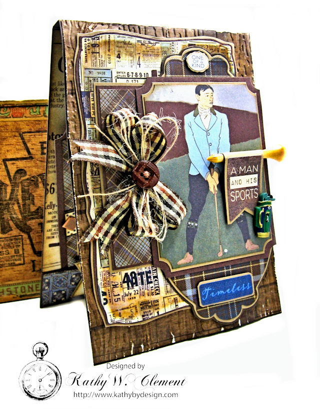 Vintage Style Gold Themed Masculine Birthday Card Rugged by Kathy Clement Product by Authentique Photo 1