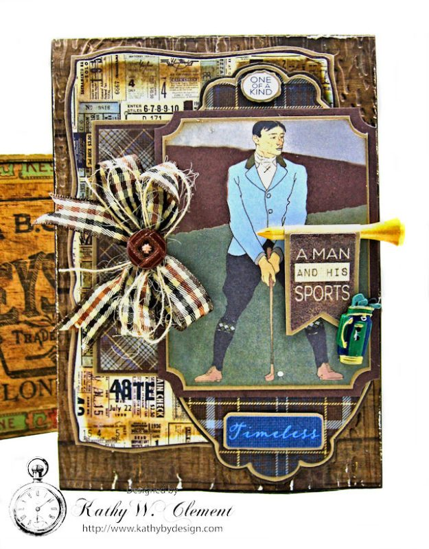 Vintage Style Gold Themed Masculine Birthday Card Rugged by Kathy Clement Product by Authentique Photo 2