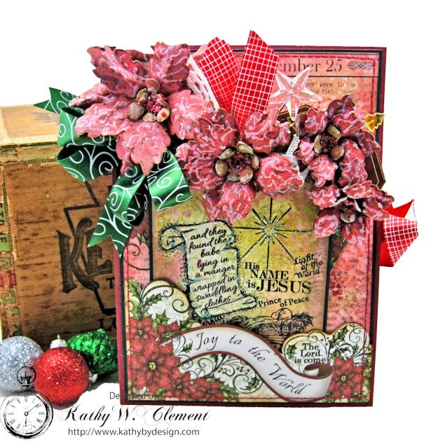 Christmas Joy Card Folio Sparkling Poinsettia by Kathy Clement Product by Heartfelt Creations Photo 1
