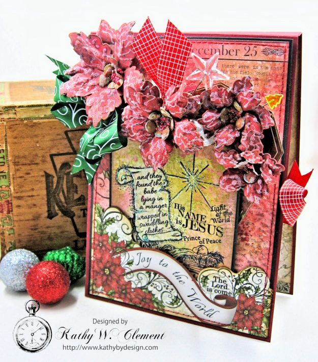Christmas Joy Card Folio Sparkling Poinsettia by Kathy Clement Product by Heartfelt Creations Photo 2