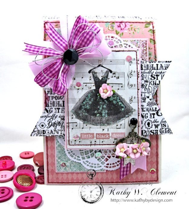 Little Black Dress Folio Vintage Girl by Kathy Clement for Really Reasonable Ribbon Product by Photoplay Photo 1