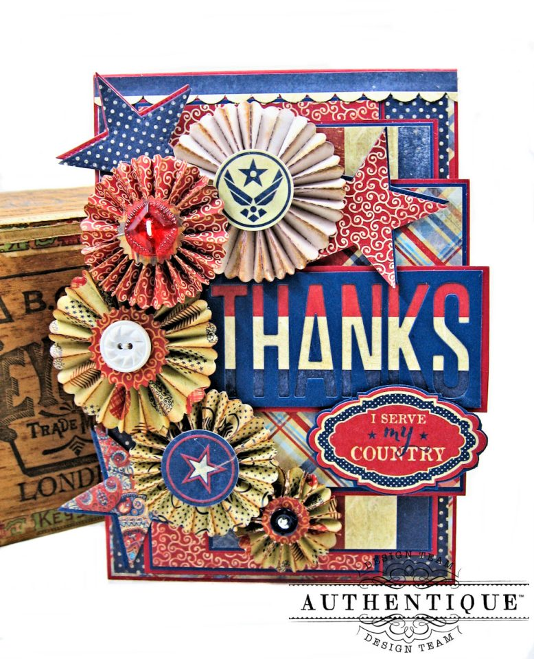 Thank a Veteran Greeting Card Honor by Kathy Clement Product by Authentique Paper Photo 1