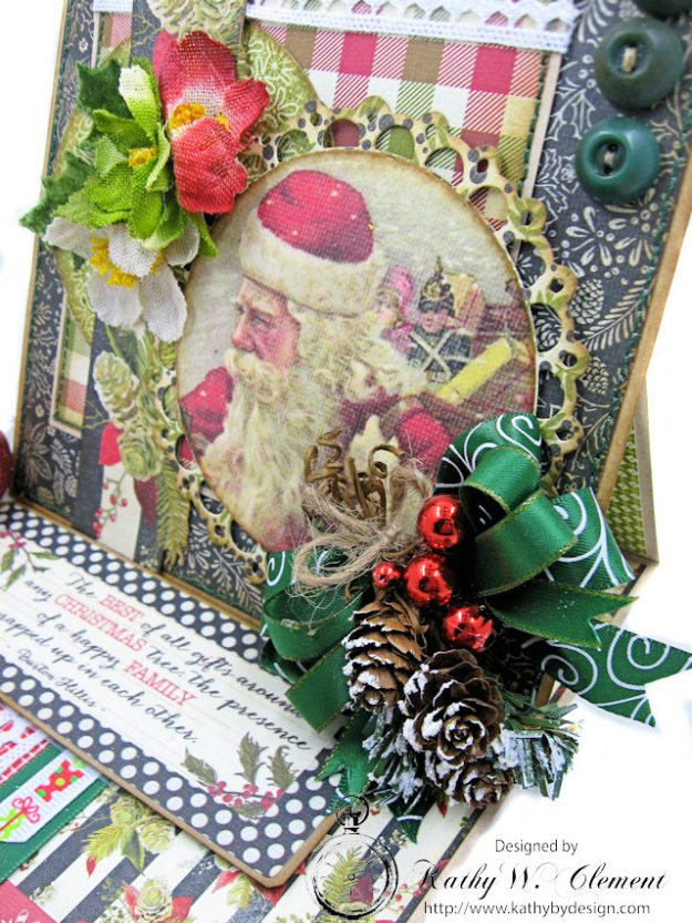 Vintage Santa Easel Card Vintage Christmas by Kathy Clement for Really Reasonable Ribbon Product by Authentique Photo 3