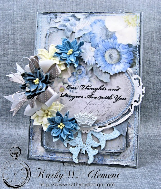 Blue Sympathy Card New England by Kathy Clement for Really Reasonable Ribbon Blog Hop Product by Stamperia Photo 2