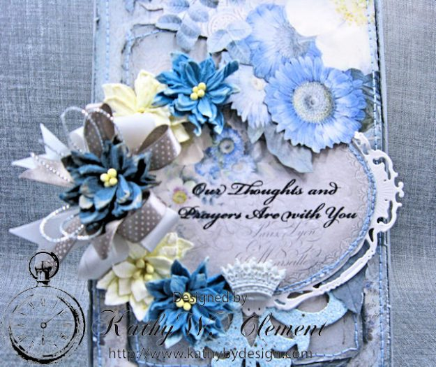 Blue Sympathy Card New England by Kathy Clement for Really Reasonable Ribbon Blog Hop Product by Stamperia Photo 3