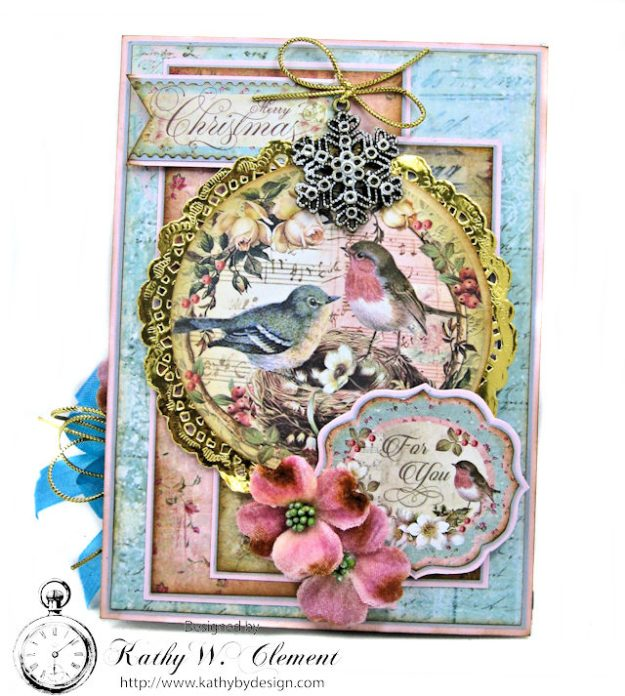 Sweet Christmas Bluebirds Easel Card Sweet Christmas by Kathy Clement for Really Reasonable Ribbon Product by Stamperia Photo 4
