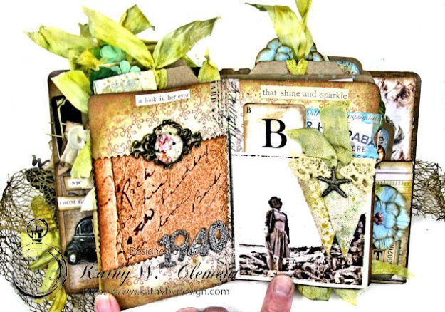 Faded Photos Passport Album for Frilly and Funkie Timeworn Challenge by Kathy Clement Photo 9