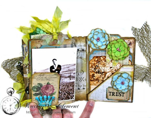 Faded Photos Passport Album for Frilly and Funkie Timeworn Challenge by Kathy Clement Photo 13