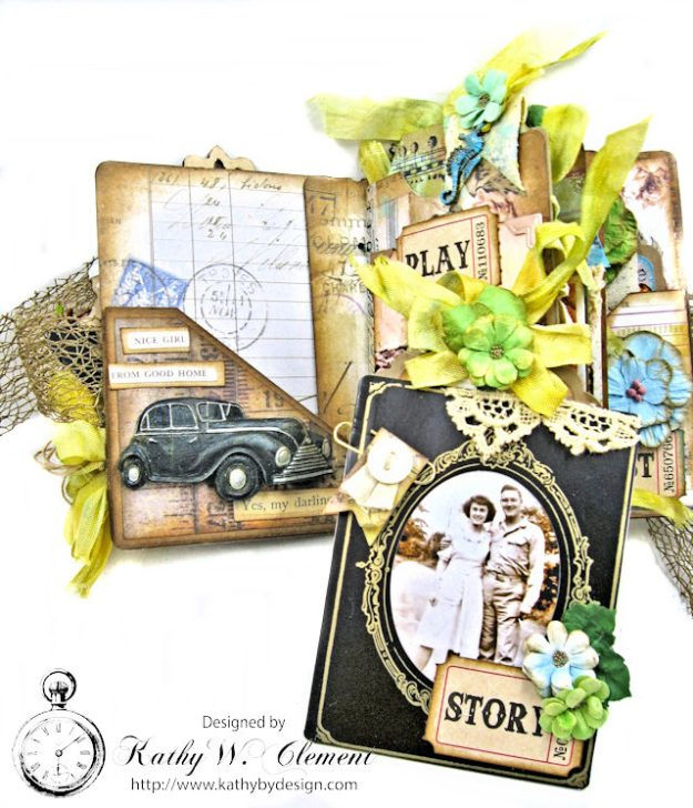 Faded Photos Passport Album for Frilly and Funkie Timeworn Challenge by Kathy Clement Photo 5