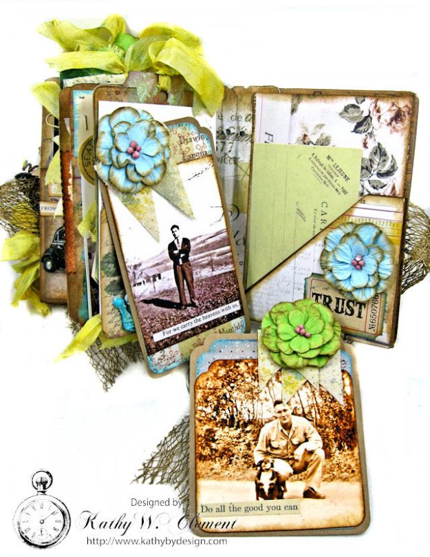 Faded Photos Passport Album for Frilly and Funkie Timeworn Challenge by Kathy Clement Photo 15