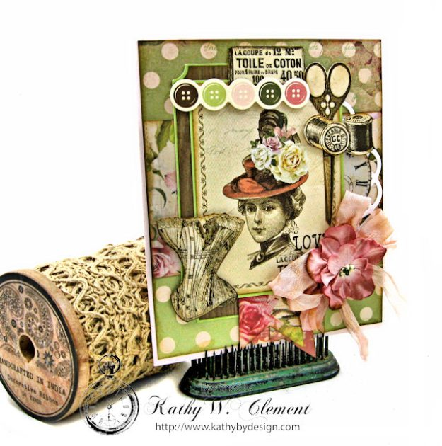 Stitched with Love Friendship Card Folio Mademoiselle by Kathy Clement for Really Reasonable Ribbon Product by Kaisercraft Photo 2