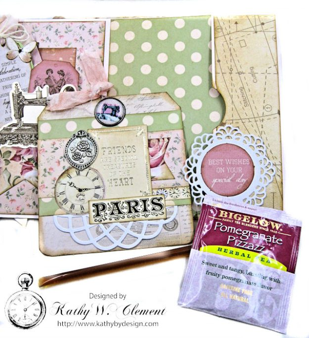 Stitched with Love Friendship Card Folio Mademoiselle by Kathy Clement for Really Reasonable Ribbon Product by Kaisercraft Photo 5