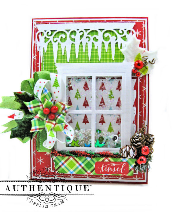 Frosty Windowpanes Christmas Shaker Card Folio Jolly Christmas by Kathy Clement Product by Authentique Photo 1