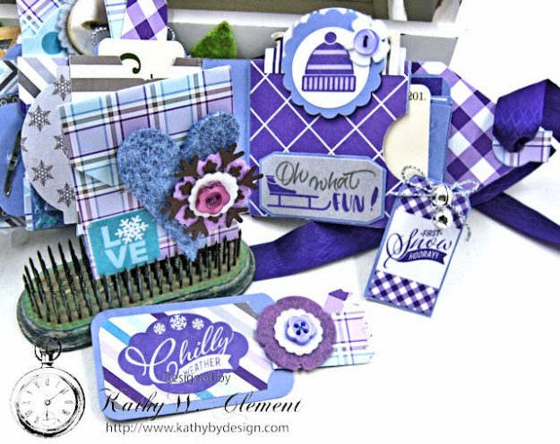 Frosty Winter Mini Tag Album Tutorial by Kathy Clement for Tammy Tutterow Designs Product by Spellbinders and Authentique Photo 12