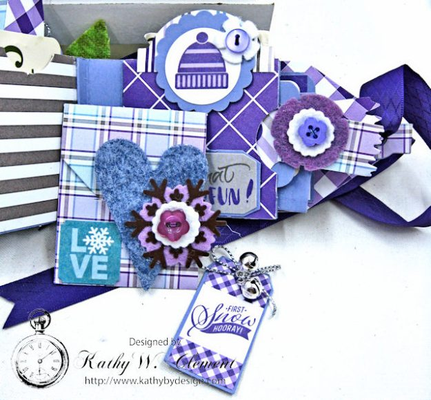 Frosty Winter Mini Tag Album Tutorial by Kathy Clement for Tammy Tutterow Designs Product by Spellbinders and Authentique Photo 14