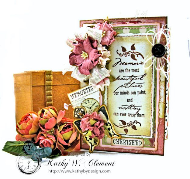 Memories Shabby Chic Sympathy Card by Kathy Clement for Really Reasonable Ribbon Photo 1
