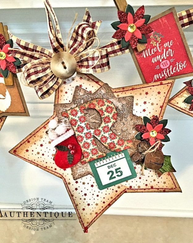 Merry Christmas Star Banner Colorful Christmas by Kathy Clement Product by Authentique Photo 5