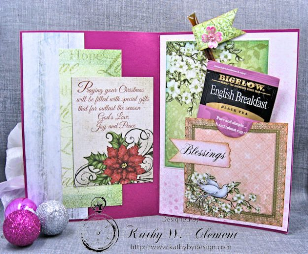 Pink Christmas Poinsettia Greeting Card Tutorial by Kathy Clement for Heartfelt Creations Alumni Hop Photo 4