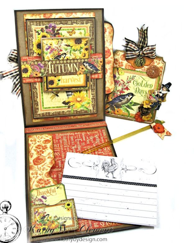 Thankful Season Card Folio Seasons by Kathy Clement for Frilly and Funkie Give Thanks Challenge Product by Graphic 45 Photo 9