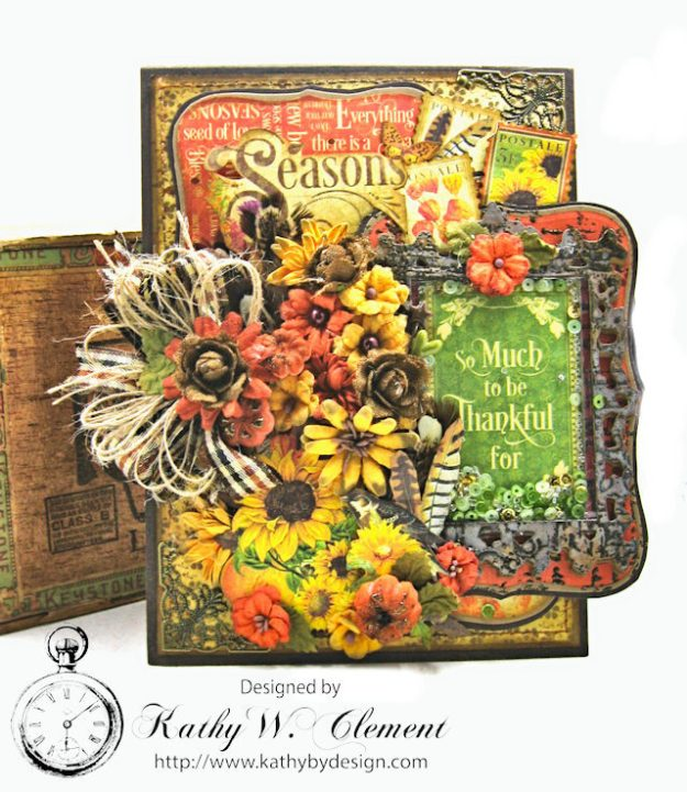 Thankful Season Card Folio Seasons by Kathy Clement for Frilly and Funkie Give Thanks Challenge Product by Graphic 45 Photo 1