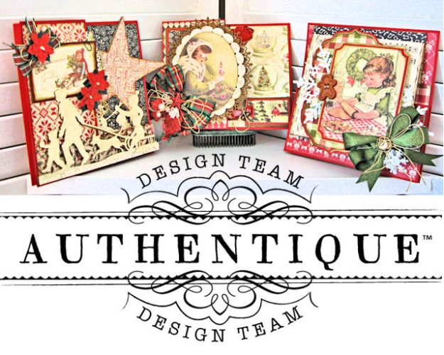 Authentique Vintage Christmas Z Fold Cards 3 Ways Tutorial by Kathy Clement Product by Authentique Photo 1