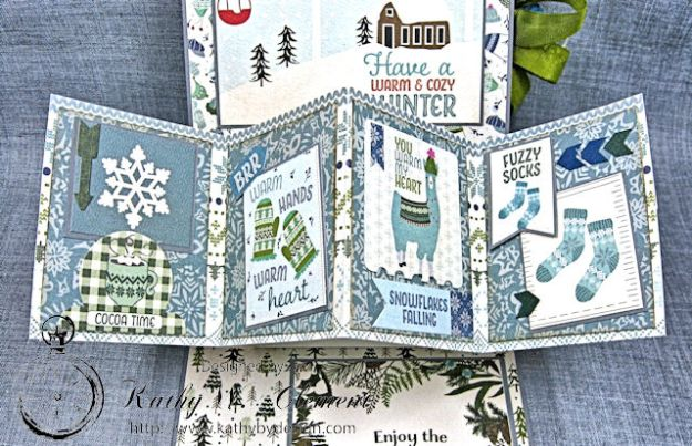Happy Winter Twist and Pop Card Tutorial Alpine by Kathy Clement Product by Authentique Paper Photo 2