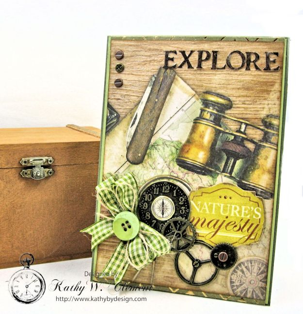 Explore Nature's Majesty Nature Themed Masculine Card with Ribbon by Kathy Clement for Really Reasonable Ribbon Photo 1