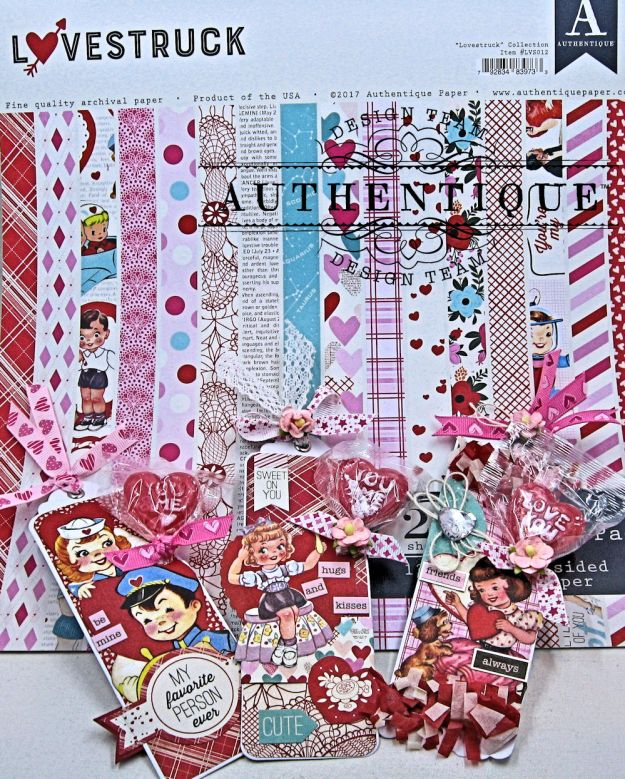 Lovestruck Lollipop Valentine Bookmarks Lovestruck by Kathy Clement Product by Authentique Paper Photo 1