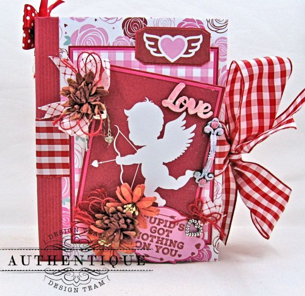 Authentique Sweetheart Valentine Mini Album Tutorial Sweetheart by Kathy Clement Product by Authentique Photo 1