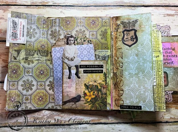 Dragonfly Discover Junk Journal Wallflower by Kathy Clement for Frilly and Funkie Product by Tim Holtz Photo 12