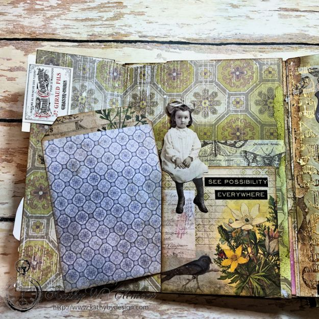 Dragonfly Discover Junk Journal Wallflower by Kathy Clement for Frilly and Funkie Product by Tim Holtz Photo 13