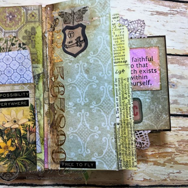 Dragonfly Discover Junk Journal Wallflower by Kathy Clement for Frilly and Funkie Product by Tim Holtz Photo 14
