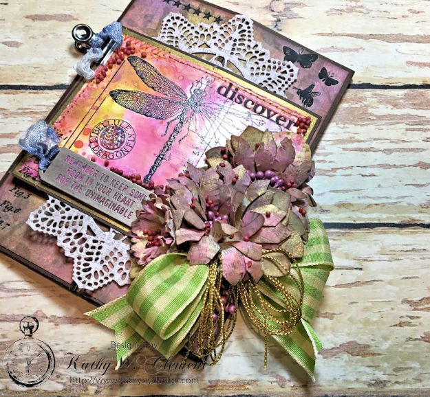 Dragonfly Discover Junk Journal Wallflower by Kathy Clement for Frilly and Funkie Product by Tim Holtz Photo 2
