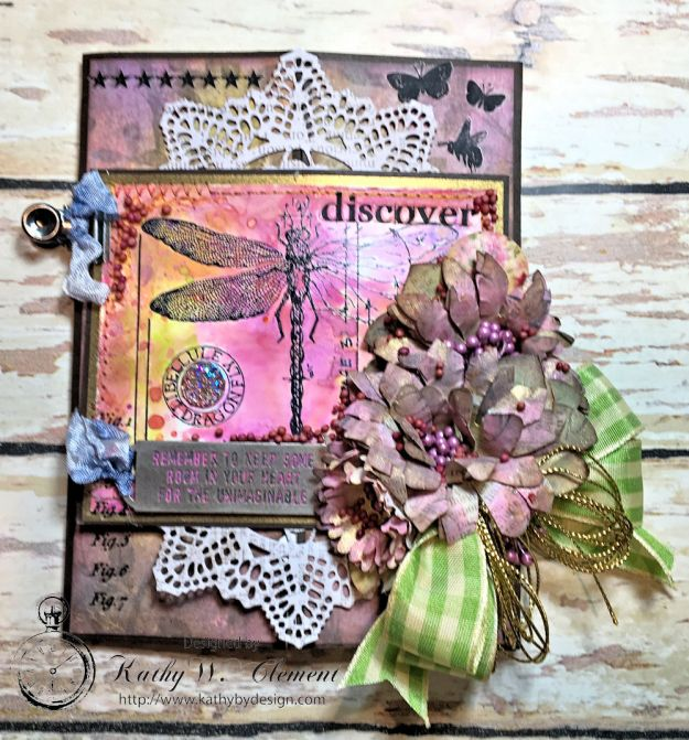Dragonfly Discover Junk Journal Wallflower by Kathy Clement for Frilly and Funkie Product by Tim Holtz Photo 1