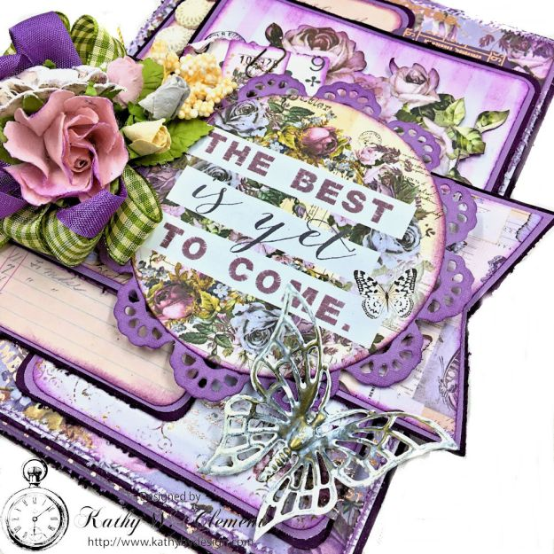 How to Create A Shabby Chic Layered Card Tutorial Lavender by Kathy Clement for The Funkie Junkie Boutique Product by Prima Photo 4