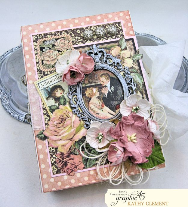 Love Sweet Love Altered Truffle Box Tutorial A Ladies Diary by Kathy Clement Product by Graphic 45 Photo 1