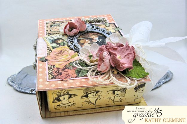 Love Sweet Love Altered Truffle Box Tutorial A Ladies Diary by Kathy Clement Product by Graphic 45 Photo 7