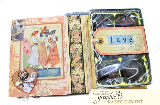 Love Sweet Love Altered Truffle Box Tutorial A Ladies Diary by Kathy Clement Product by Graphic 45 Photo 9