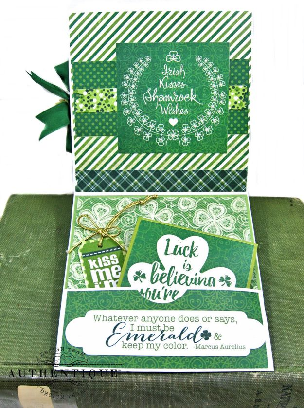 Authentique Shamrock Card Tutorial Shamrock by Kathy Clement Product by Authentique Photo 7