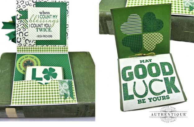 Authentique Shamrock Card Tutorial Shamrock by Kathy Clement Product by Authentique Photo 5